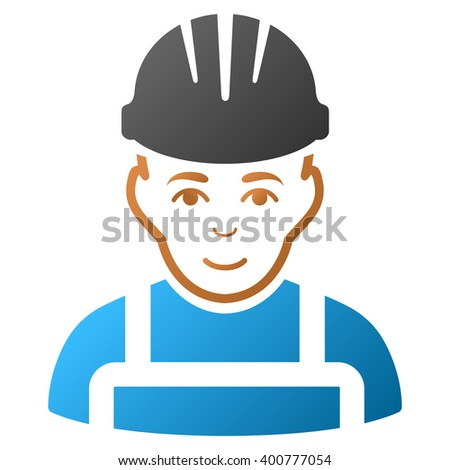 Happy Mechanic vector toolbar icon for software design. Style is a gradient icon symbol on a white background. - stock vector