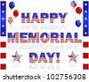 Happy Memorial Day; balloons; and buttons with a picture of the American flag on a white. 10 EPS. Vector illustration. - stock vector