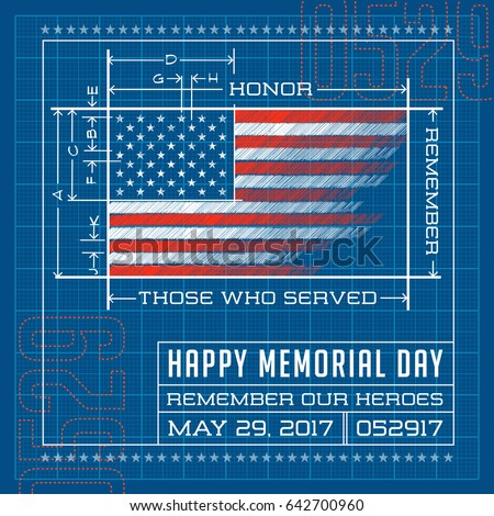 Happy memorial day card banner american stock photo photo vector happy memorial day card or banner american flag design as a blueprint or diagram malvernweather Gallery