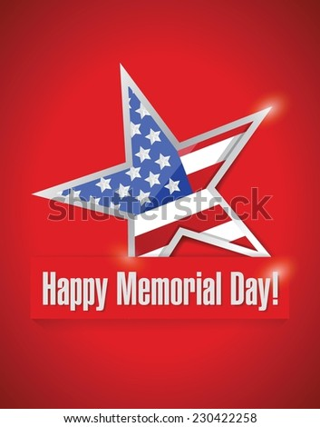 happy memorial day illustration design over a red background - stock vector