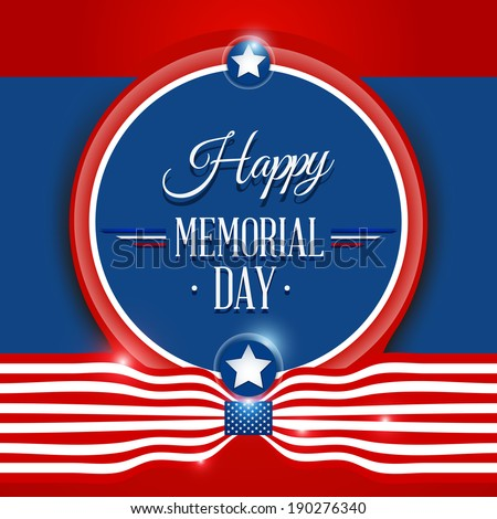 Happy Memorial day symbol with flag red background. vector illustration - stock vector