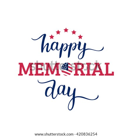 Happy Memorial Day vector background. Celebration poster with USA flag. Greeting card. - stock vector