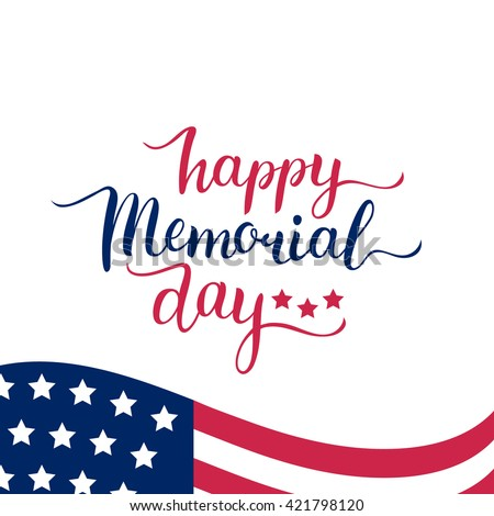 Happy Memorial Day vector card, illustration background. With USA flag. - stock vector