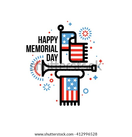 Happy Memorial Day vector greeting card with American flag and bugle - stock vector