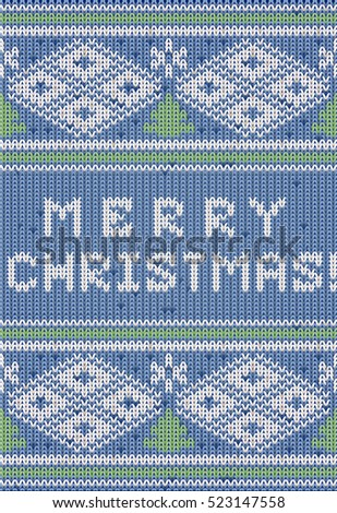 Happy Merry Christmas knitted background, vector illustration
