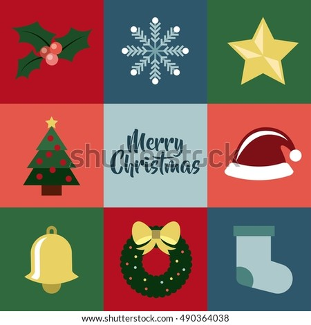 happy merry christmas set decorative icons vector illustration design