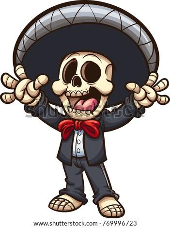 happy mexican skeleton mariachi vector clip stock photo photo rh shutterstock com Mariachi Cartoons mariachi band clipart