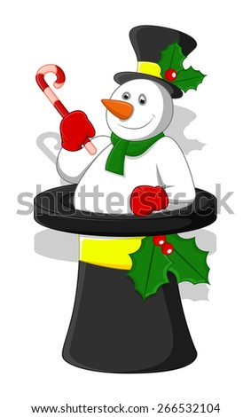 Happy Mgician Snowman in Hat