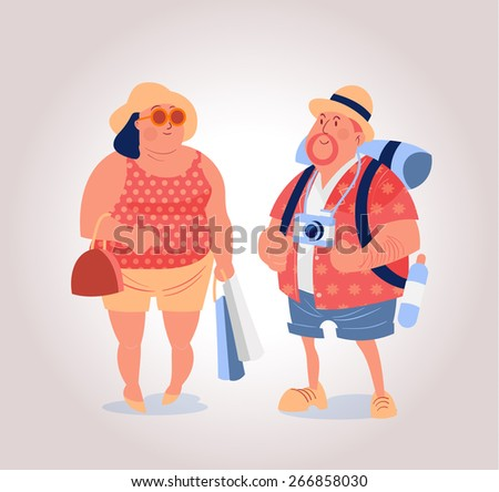 happy mid age western tourist with backpack and shopping bag  - stock vector