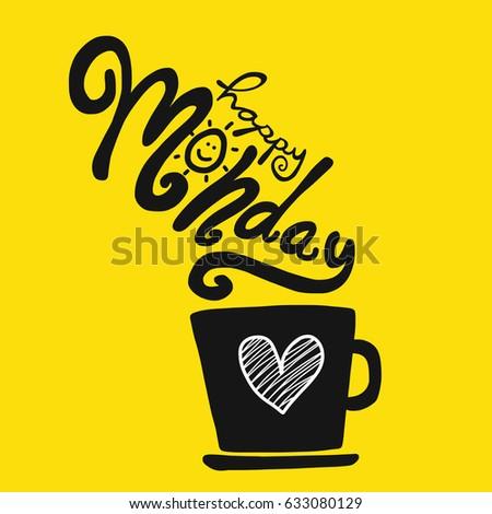 Happy monday coffee cup cartoon vector 633080129 happy monday and coffee cup cartoon vector illustration voltagebd Gallery