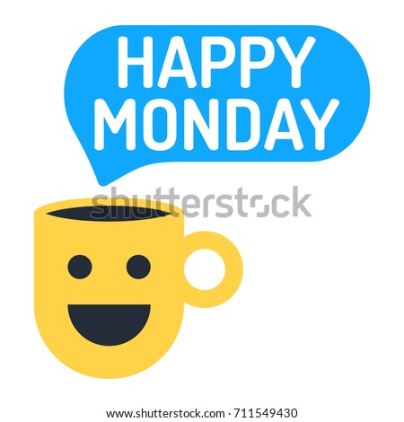 Happy monday cup speech bubble icon stock vector hd royalty free happy monday cup with speech bubble icon flat vector illustration on white background voltagebd Gallery
