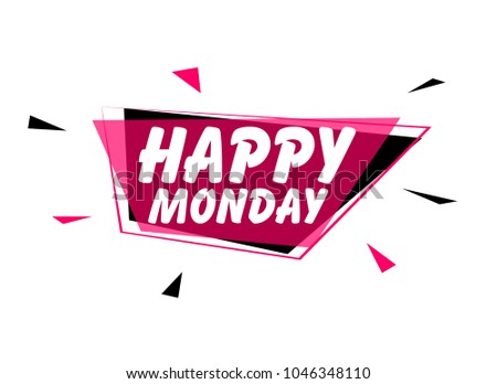 Happy monday greeting card sign pink stock vector 1046348110 happy monday greeting card or sign with pink label m4hsunfo
