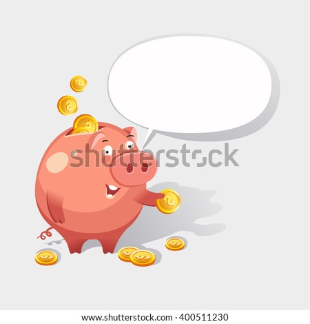 Happy money piggy bank character giving advice, bubble for your text. Saving money concept. Vector colorful illustration in flat style - stock vector
