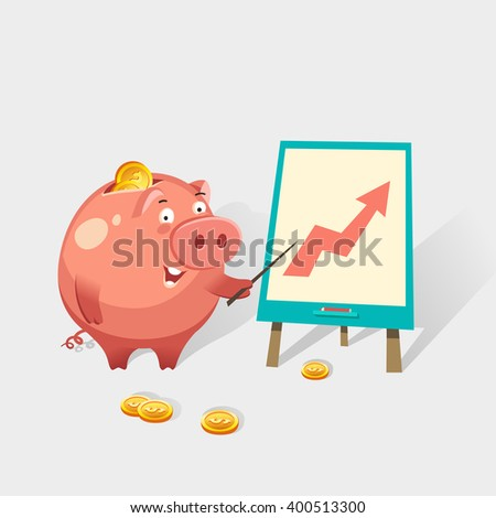 Happy money piggy bank character making a presentation about business growth. Saving money concept. Vector colorful illustration in flat style - stock vector