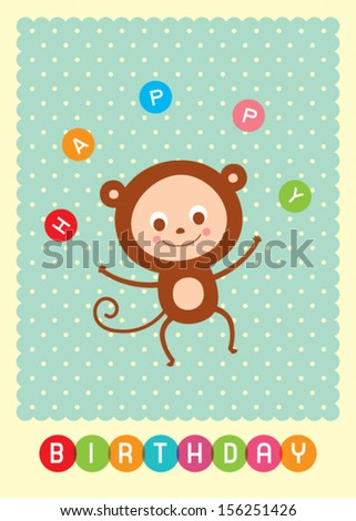 Happy Monkey Birthday Card Stock Vector 156251426 Shutterstock