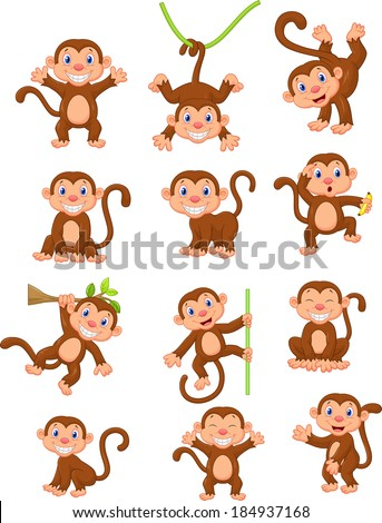 Happy monkey cartoon collection set - stock vector