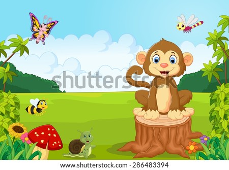 Happy monkey in the forest - stock vector