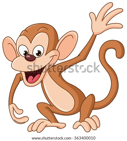 Happy monkey waving hello - stock vector