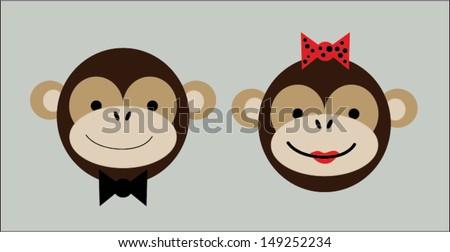 Happy Monkeys - stock vector