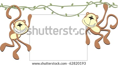 happy monkeys holding a blank board for copy space - stock vector