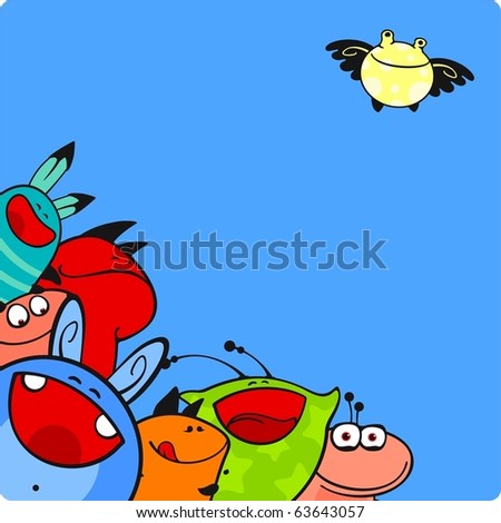 Happy monsters - stock vector