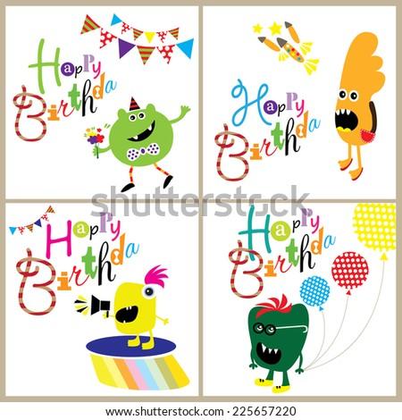 Happy Monsters Birthday Card Set. Editable vector illustration - stock vector