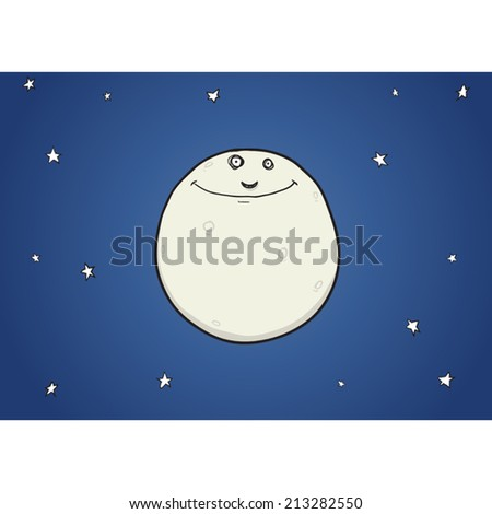 Happy moon in night sky with stars cartoon character vector illustration. - stock vector