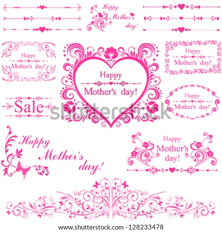 Happy mother day! Collection of  design elements isolated on White background. Vector illustration - stock vector