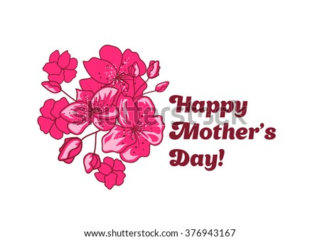 Happy Mother's Day banner design with pink sakura flowers. Vector illustration