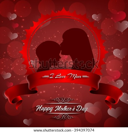 Happy Mother's Day. Beautiful silhouette of mother and kid.Vector