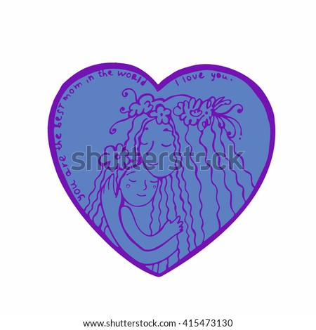 Happy mother's day card. Mother with daughter. Line illustration. Hand drawn postcard with mother and daughter hugging inside heart - stock vector