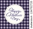 Happy mother's day card. Stylized fabric label with embroidered letters. Eps10 vector illustration. - stock vector