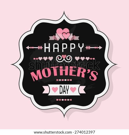 Happy Mother's Day - Flat vintage chalk badge on pink background