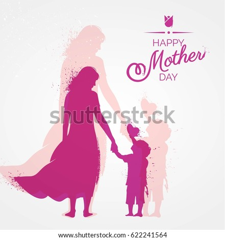 Happy Mother`s Day flyer, banner or poster, silhouette of a mother holding her son hand. Vector illustration