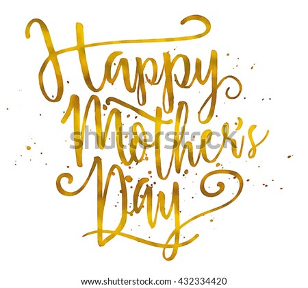 Happy Mother's Day. Golden glittering text on white background. Greeting card vector illustration.