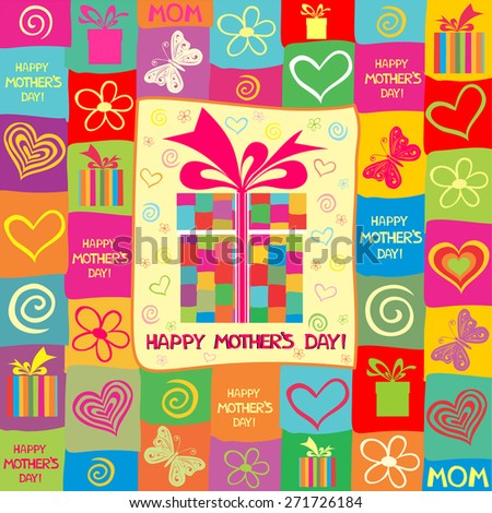 Happy Mother's Day! Greeting card. Celebration background with gift boxes and place for your text. Vector Illustration