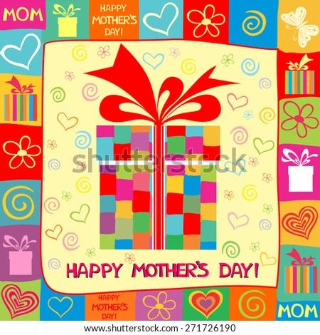 Happy Mother's Day! Greeting card. Celebration background with gift boxes and place for your text. Vector Illustration - stock vector