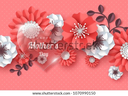 Happy mothers day greeting card paper stock vector 1070990150 happy mothers day greeting card paper cut flowers with glossy heart holiday background m4hsunfo