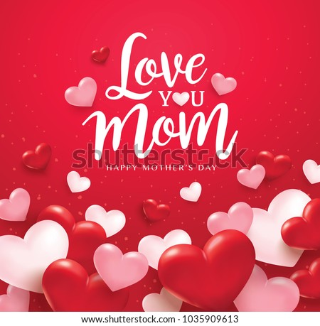 Happy mothers day greetings design pink stock vector 1035909613 happy mothers day greetings design with pink and red 3d hearts m4hsunfo