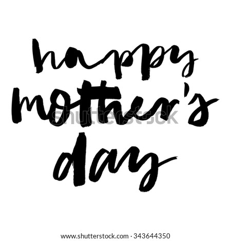 Happy Mother's Day handwritten lettering.  Grunge style vintage vector illustration. Hand drawn calligraphy. - stock vector