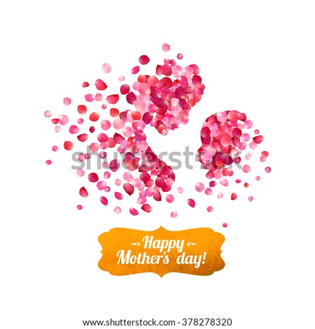Happy Mother's Day! Silhouette of a mother and her child of pink rose petals - stock vector