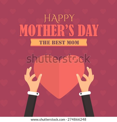 Happy Mother's Day Vector Design. Announcement and Celebration Message Poster, Flyer. Heart Symbol Hold Hands  Template - stock vector