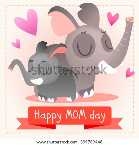 Happy mother's day. Vector illustration. Baby and mother together illustration. Cute animals. Elephants. - stock vector