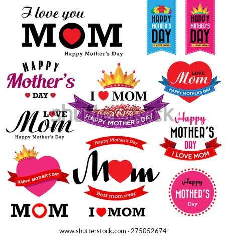 Happy Mother's day vintage type font.Illustrator eps10