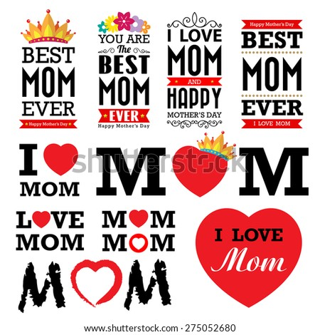 Happy Mother's day vintage type font.Illustrator eps10 - stock vector