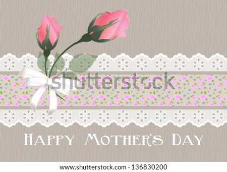 Happy Mother's Day. with beige background,horizontal.Vector eps10 , illustration