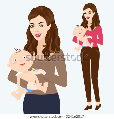 Happy mother with a baby in her arms. Vector illustration