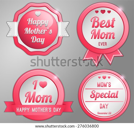 Happy Mothers day badge collection set - stock vector