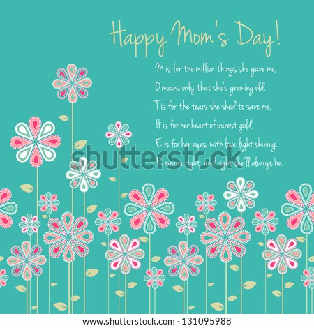 happy mothers day card design. vector illustration - stock vector