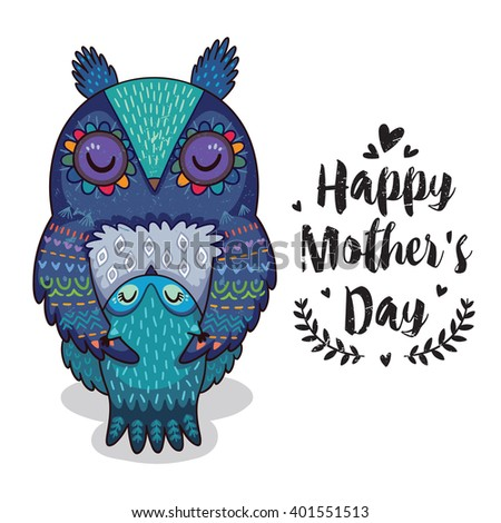 Happy mothers day card in cartoon style with owls. Greeting card for mom with cute animals. Baby and mother together. Vector illustration.